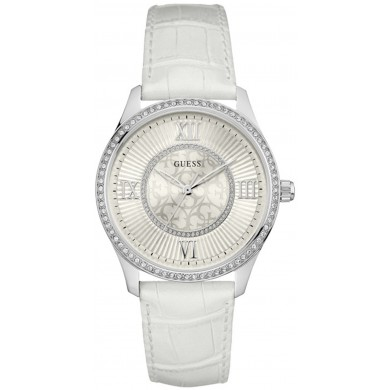 Guess watch for women. Stainless steel silver. Leather strap white. Dial white.